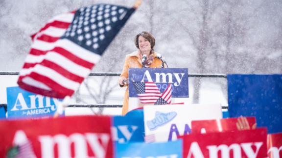 Klobuchar announces her presidential bid on a snowy day in Minneapolis in February 2019.