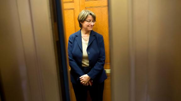 Klobuchar gets on an elevator on Capitol Hill in October 2013.