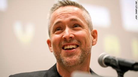 J. D. Greear, president of the Southern Baptist Convention, speaks Monday in Birmingham.