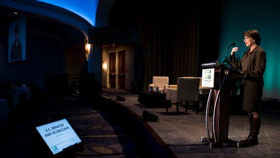 Klobuchar delivers a keynote address to the BlueGreen Alliance Foundation