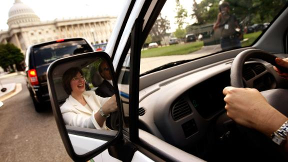 Klobuchar test-drives an electric vehicle to the US Capitol in June 2008.