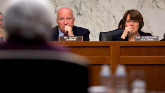 Klobuchar listens as Federal Reserve Chairwoman Janet Yellen testifies during a Senate hearing in May 2014.