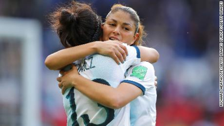 PARIS, FRANCE - JUNE 10: Virginia Gomez of Argentina and Adriana Sachs of Argentina celebrate after the 2019 FIFA Women's World Cup France group D match between Argentina and Japan at Parc des Princes on June 10, 2019 in Paris, France. (Photo by Richard Heathcote/Getty Images)