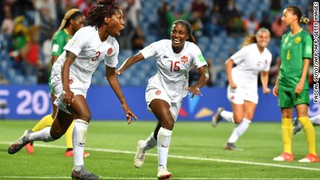 Canada's Kadeisha Buchanan celebrates her country's first goal at the 2019 World Cup.