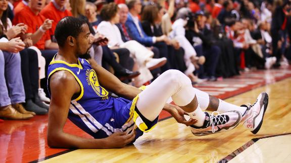 Durant, playing in his first game since injuring his calf in the Western Conference semifinals, went down in the second quarter of Game 5. He left the game and wouldn't return. Days later, it was confirmed that he had ruptured his Achilles tendon.