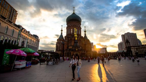 """The Russian Orthodox Saint Sophia Cathedral was built in 1907 and is a  landmark of Harbin, which has the nickname """"Oriental Moscow."""""""