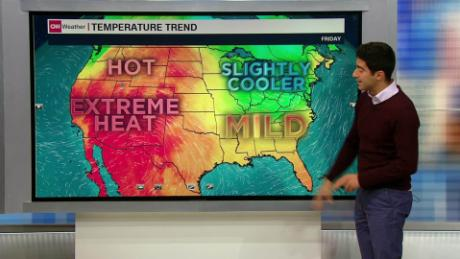 Temperatures cool for the East Coast as a heat wave hits the West Coast