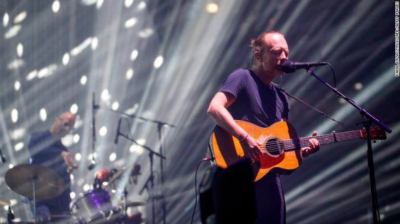 """Thom Yorke of the British band Radiohead performs during a summer 2018 North American tour in support of the band's latest album """"A Moon Shaped Pool,"""" at the United Center in Chicago."""