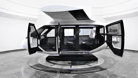 The seats in Uber's flying car cabin are turned slightly toward the window to create a more private feeling for passengers.