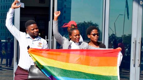 Activists celebrate outside the High Court in Gaborone, Botswana, Tuesday June 11, 2019. Botswana became the latest country to decriminalize gay sex.