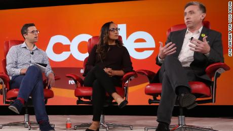 Code Conference 2019 - Erika Andiola and Jonathan Ryan L to R: Ezra Klein (Editor at large, Vox.com), Erika Andiola (Chief Advocacy Officer, RAICES), Jonathan Denis Ryan (President and CEO, RAICES)
