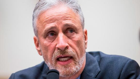 WASHINGTON, DC - JUNE 11: Former Daily Show Host Jon Stewart testifies during a House Judiciary Committee hearing on reauthorization of the September 11th Victim Compensation Fund on Capitol Hill on June 11, 2019 in Washington, DC. The fund provides financial assistance to responders, victims and their families who require medical care related to health issues they suffered in the aftermath of 9/11 terrorist attacks. (Photo by Zach Gibson/Getty Images)