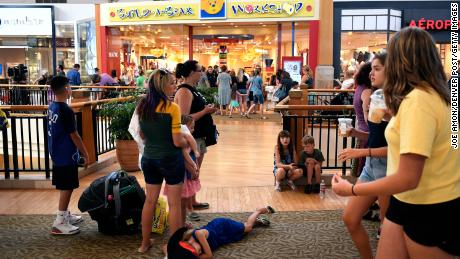 LONE TREE, CO - JULY 12: The line at the front door of the Build-A-Bear store stretched down and back on the second floor of Park Meadows Mall. Malls in metro Denver, Loveland and across the country shut down a promotion where plush bears could be purchased at a price matching a customers age July 12, 2018 in Lone Tree, Colorado. (Photo by Joe Amon/The Denver Post via Getty Images)