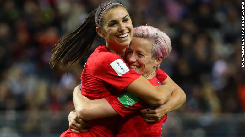 Alex Morgan (left) ended the evening with five goals against Thailand.