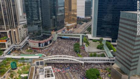 Protesters occupy the roads surrounding the Legislative Council complex in central Hong Kong.