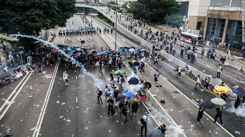 Rubber bullets, pepper spray and hand-thrown tear gas were used to push back protesters who had occupied the city's main thoroughfare and other roads near the government headquarters, Hong Kong Police Commissioner Steven Lo Wai-chung said.