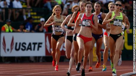 Grunewald (right) competes in the 1500m at the 2015 US championships.