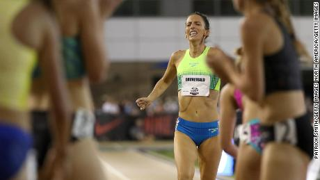 Grunewald crosses the finish line in the 1500m at the 2017 US championships.