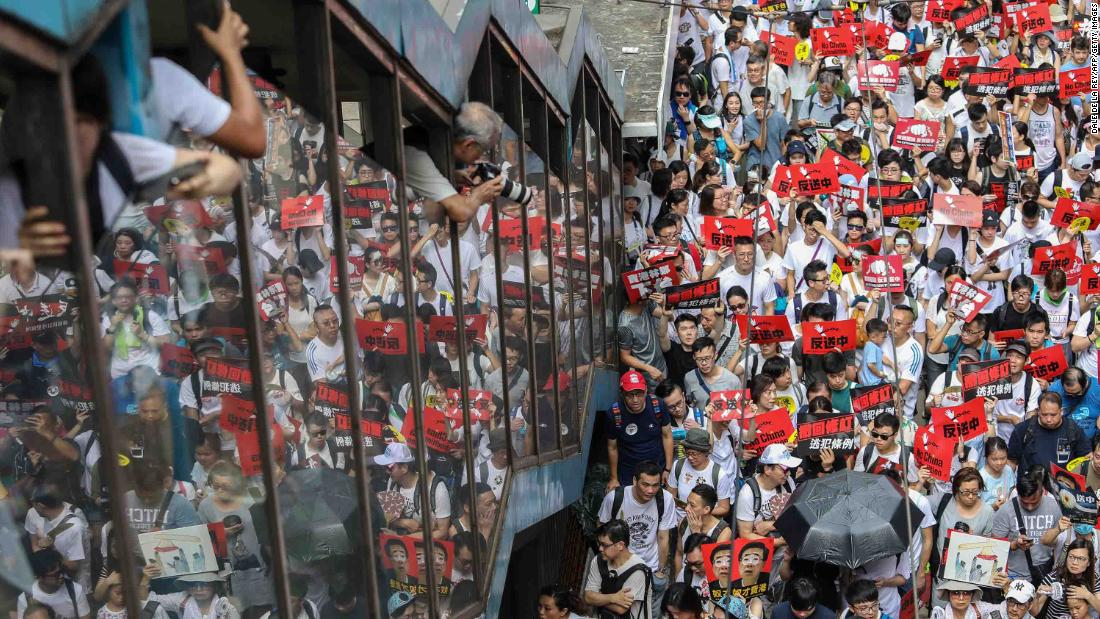 A crowd fills a Hong Kong street on June 9.