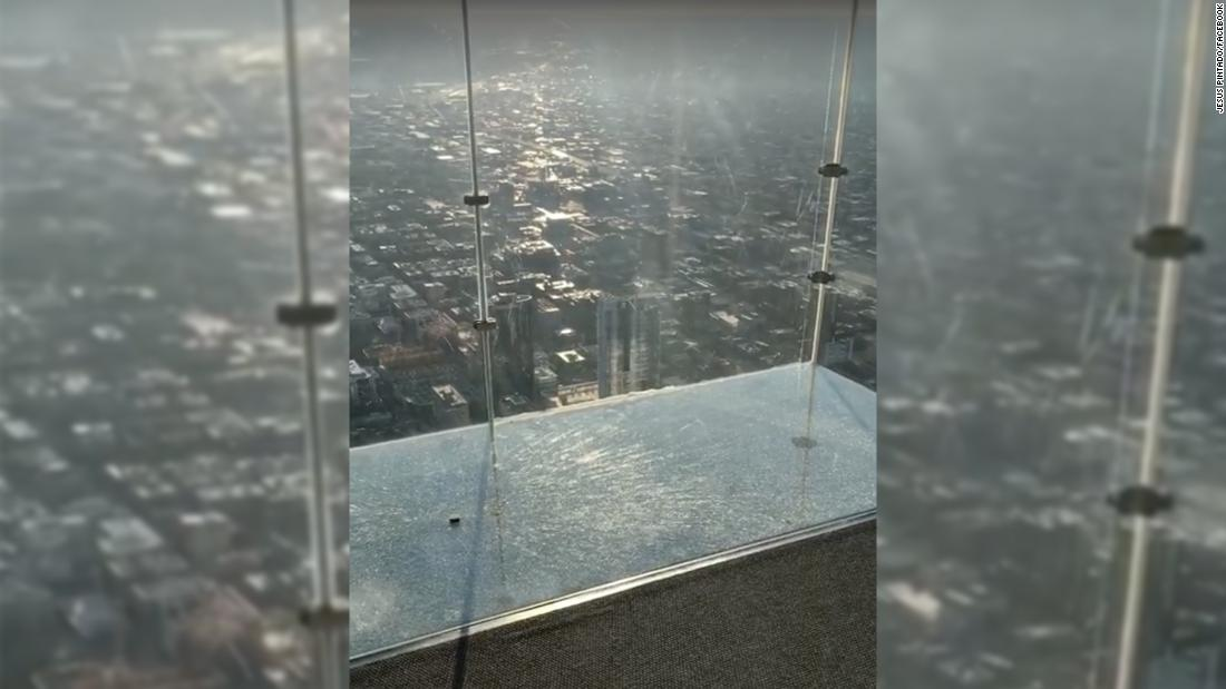 The SkyDeck ledge of the Willis Tower cracks under visitors' feet