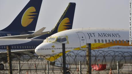 Jet Airways aircraft at Chattrapati Shivaji International Airport in Mumbai.
