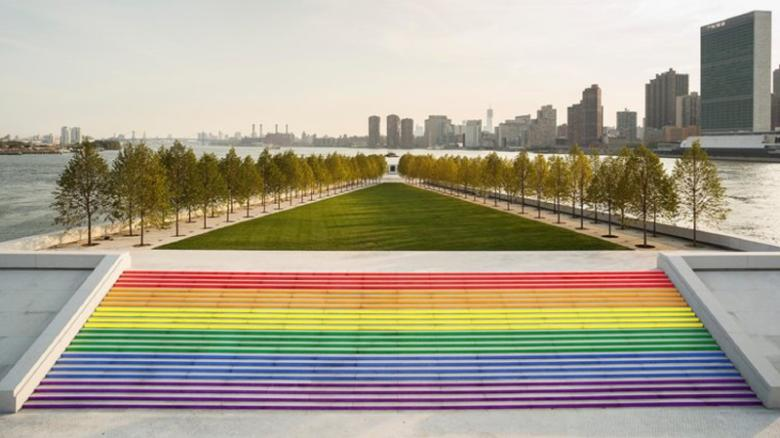"""NYC's largest pride flag"" in FDR's Four Freedoms Park."