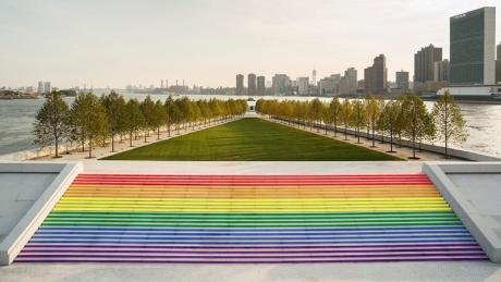 "This month, FDR's Four Freedoms Park will feature ""NYC's largest pride flag."""