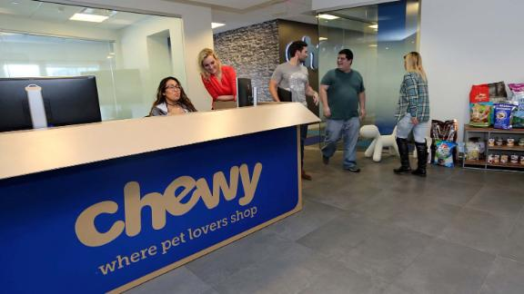 The reception desk of Chewy.com is designed to look like a shipping box from the company. (C.M. Guerrero/Miami Herald/TNS) (Newscom TagID: krtphotoslive781426.jpg) [Photo via Newscom]