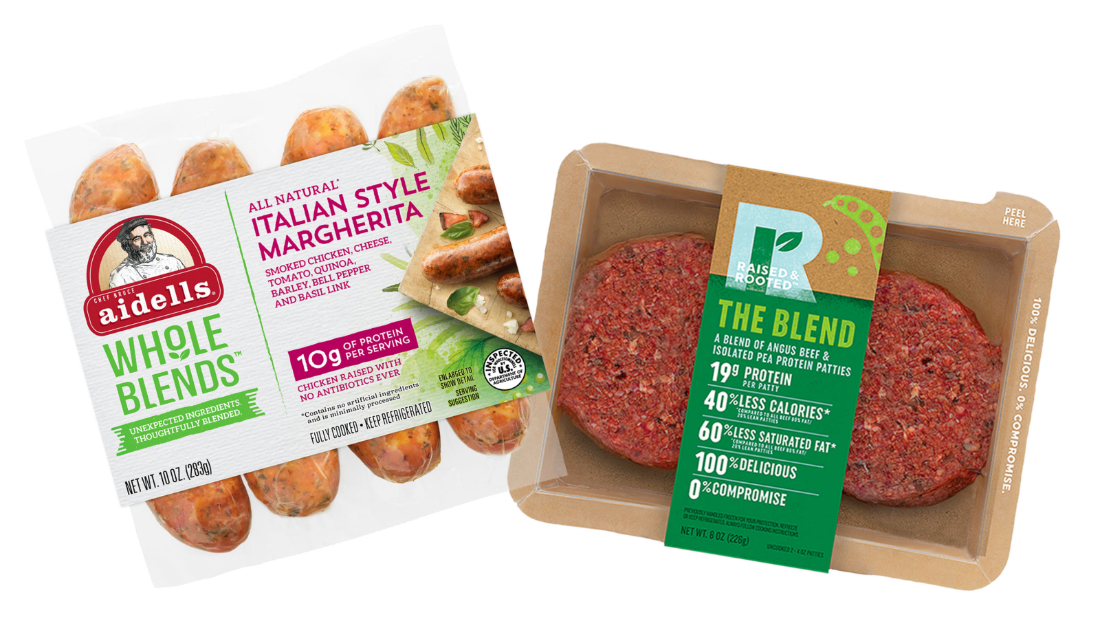 The blended products are made with real meat.