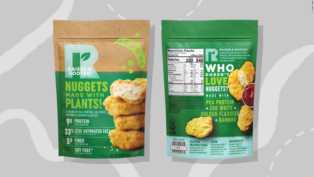 Tyson's chicken nuggets are sold under the brand Raised & Rooted. They are made from pea protein, egg white and flaxseed and bamboo fiber.