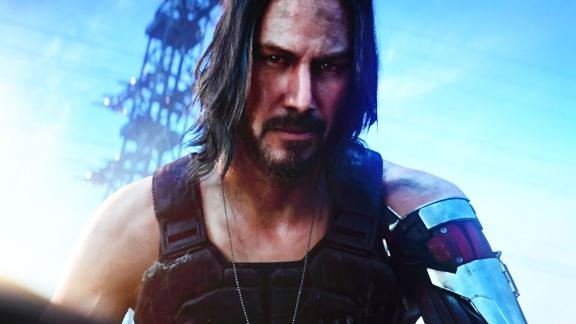 "Canadian-US actor Keanu Reeves announces the new video game ""Cyberpunk 2077"" at the Microsoft Xbox press event ahead of the E3 gaming convention in Los Angeles on June 9, 2019. (Photo by Mark RALSTON / AFP)        (Photo credit should read MARK RALSTON/AFP/Getty Images)"