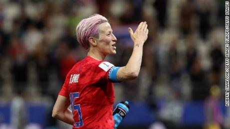 REIMS, FRANCE - JUNE 11: Megan Rapinoe of the USA celebrates following her sides victory in the 2019 FIFA Women's World Cup France group F match between USA and Thailand at Stade Auguste Delaune on June 11, 2019 in Reims, France. (Photo by Robert Cianflone/Getty Images)