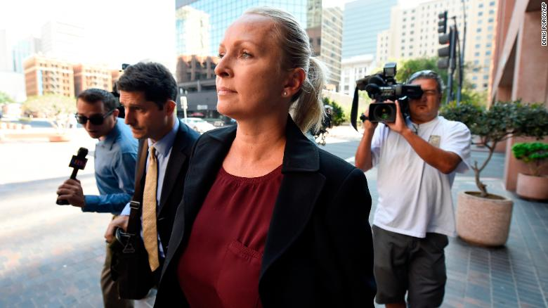 Margaret Hunter, wife of US Rep. Duncan Hunter, arrives for an arraignment hearing in San Diego in 2018.