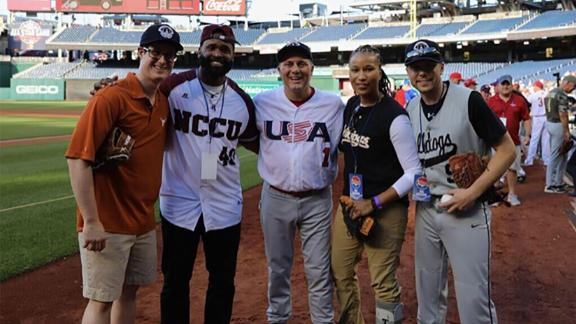 2018 Congressional Baseball Game. Pictured, from left: Zack Barth, Special Agent David Bailey, Rep. Steve Scalise, Special Agent Crystal Griner, Matt Mika. Photo provided by Matt Mika