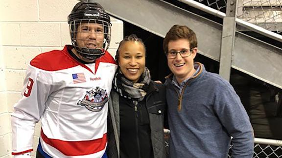 2018 Congressional Hockey Game. Pictured, from left: Matt Mika, Special Agent Crystal Griner, Zack Barth. Photo provided by Matt Mika