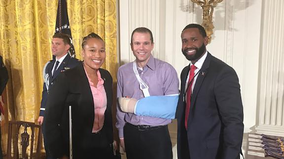 White House awards for Officers, July 2017. Pictured from left: Special Agent Crystal Griner, Matt Mika, Special Agent David Bailey. Photo provided by Matt Mika