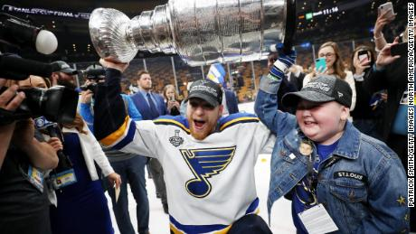 St. Louis Blues defenseman Colton Parayko and Laila Anderson celebrate the team's Stanley Cup win.