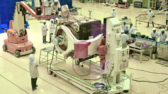 """Scientists work on the orbiter vehicle of """"Chandrayaan-2"""" for India"""