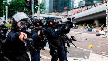 Police fire non-lethal projectiles during violent conflict with protesters in Hong Kong on June 12, 2019.