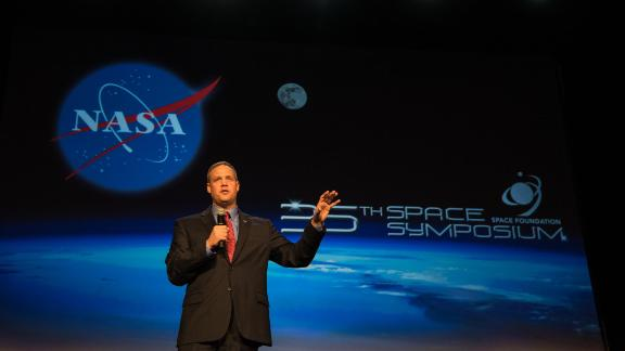 COLORADO SPRINGS, CO - APRIL 9:  In this handout provided by the National Aeronautics and Space Administration (NASA), Administrator Jim Bridenstine gives keynote remarks at the Space Symposium at Broadmoor Hall April 9, 2019 in Colorado Springs, Colorado. Representatives from the space industry, military, and news media were in attendance.  (Photo by Aubrey Gemignani/NASA via Getty Images)