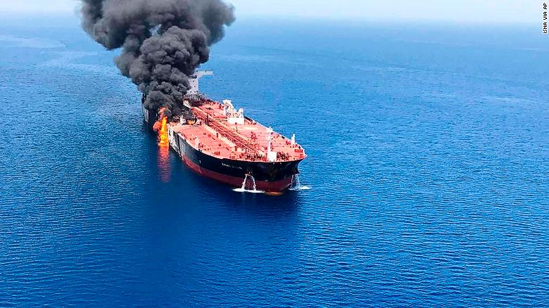 A photo released by Iranian media purports to show the fire that broke out on the Front Altair oil tanker in the Gulf of Oman on Thursday.