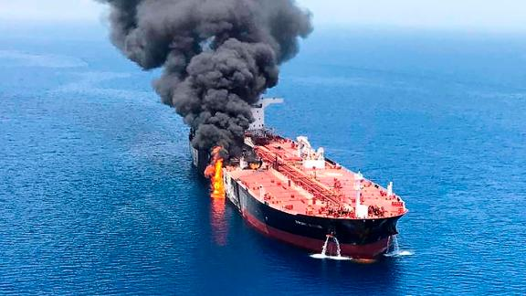 A tanker ablaze in the Gulf of Oman, in an unverified image supplied by an Iranian news agency.
