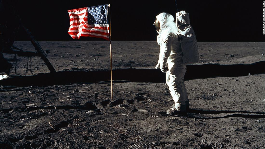 "Apollo 11 astronaut Edwin ""Buzz"" Aldrin salutes the American flag on the surface of the moon on July 20, 1969. Aldrin was the second man to ever step foot on the lunar surface. The first was Neil Armstrong, Apollo 11's mission commander."