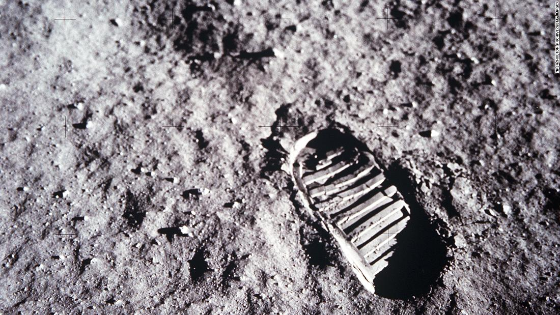 An astronaut's boot print on the lunar surface.