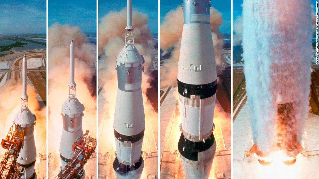 Apollo 11 was launched into space by a Saturn V rocket on July 16, 1969.