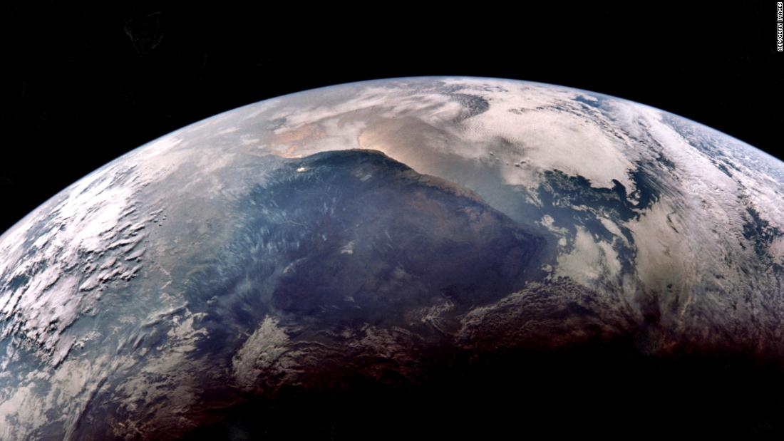 A view of Earth, photographed from Apollo 11 as it returned from the moon.