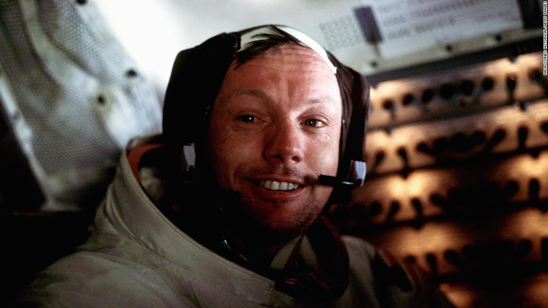 "Armstrong is pictured aboard the Eagle just after the historic moonwalk. As Armstrong lowered himself to the surface, people watching around the world heard him call it ""one small step for man, one giant leap for mankind."" Armstrong later said he had intended to say ""a man"" and thought he had. <a href=""https://www.cnn.com/2013/06/04/tech/armstrong-quote/index.html"" target=""_blank"">Numerous studies have been carried out over the years</a> to discover whether he had indeed uttered that one little sound. Either way, his intention was clear."