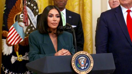 Kim Kardashian West speaks during an White House event on Second Chance hiring on June 13