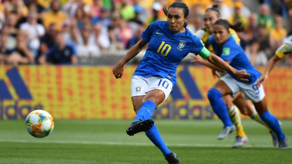 Marta scores from the penalty spot to make Women's World Cup history.