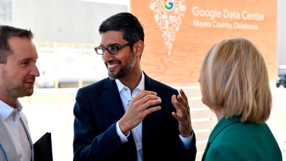 Google CEO Sundar Pichai (C) speaks with guests during an event the Mayes County Google Data Center in Pryor, Oklahoma, June 13, 2019. Nick Oxford for CNN